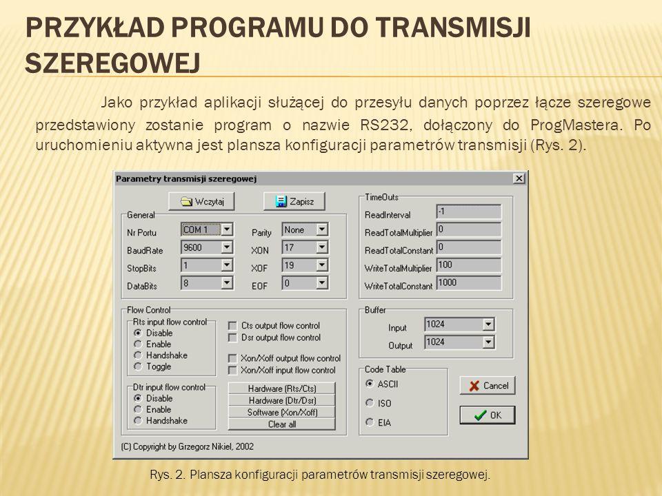 PRZYKŁAD PROGRAMU DO TRANSMISJI SZEREGOWEJ Jako przykład aplikacji służącej do przesyłu danych poprzez łącze szeregowe przedstawiony zostanie program