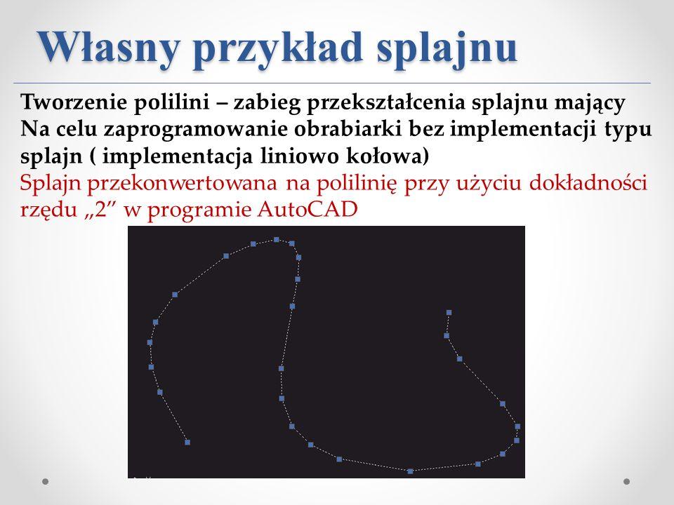 Własny przykład splajnu Tworzenie polilini – zabieg przekształcenia splajnu mający Na celu zaprogramowanie obrabiarki bez implementacji typu splajn (