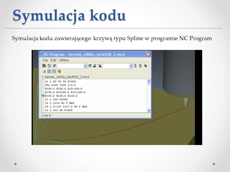 Symulacja kodu Symulacja kodu zawierającego krzywą typu Spline w programie NC Program