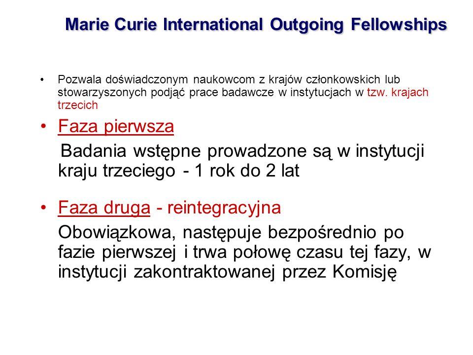 Marie Curie International Outgoing Fellowships Pozwala doświadczonym naukowcom z krajów członkowskich lub stowarzyszonych podjąć prace badawcze w instytucjach w tzw.