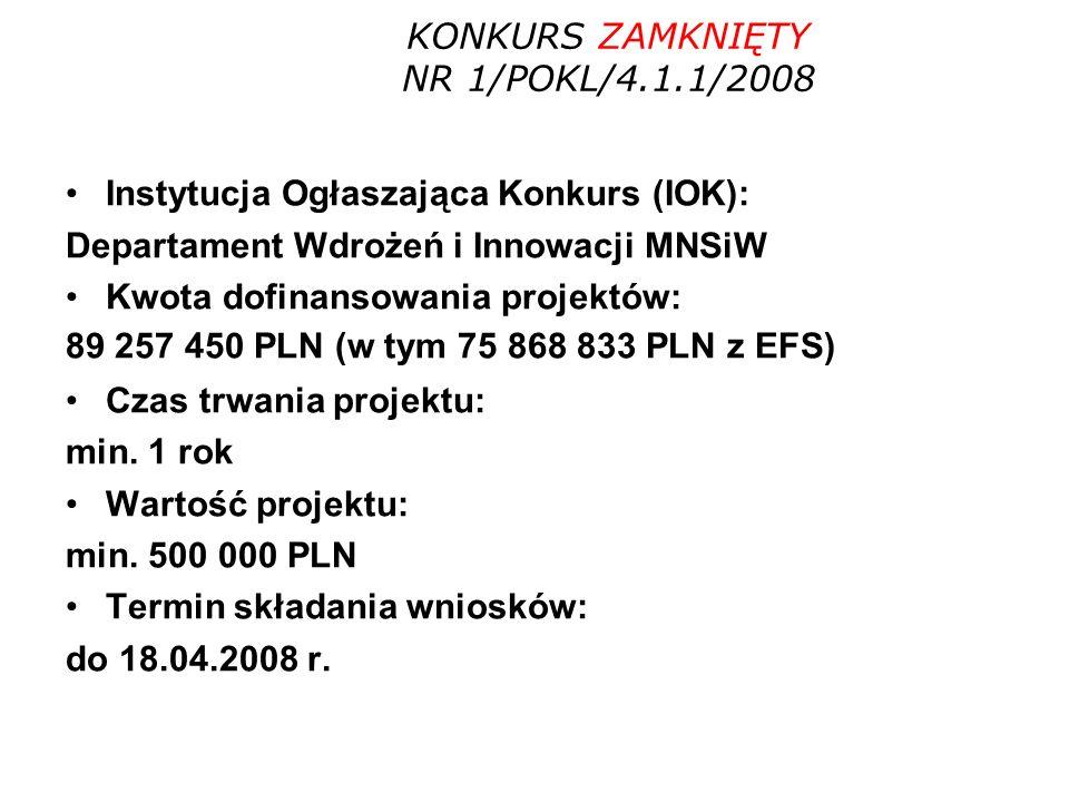 Instytucja Ogłaszająca Konkurs (IOK): Departament Wdrożeń i Innowacji MNSiW Kwota dofinansowania projektów: 89 257 450 PLN (w tym 75 868 833 PLN z EFS) Czas trwania projektu: min.