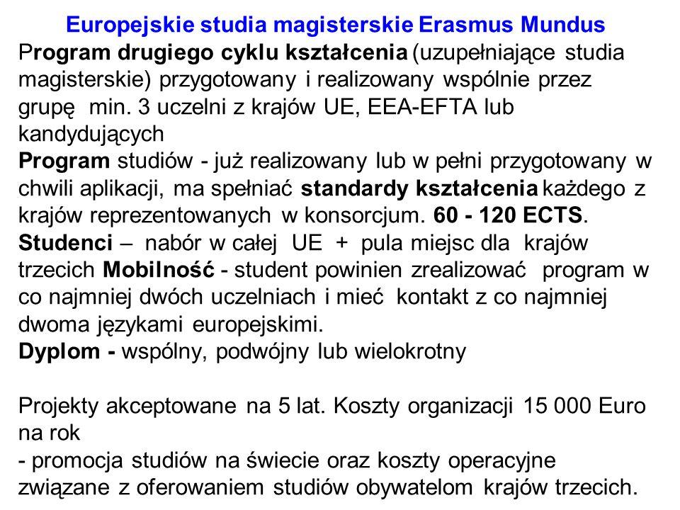 Europejskie studia magisterskie Erasmus Mundus Program drugiego cyklu kształcenia (uzupełniające studia magisterskie) przygotowany i realizowany wspól