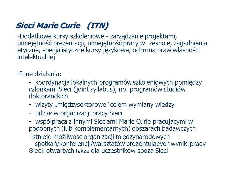 Sieci Marie Curie (ITN) -Dodatkowe kursy szkoleniowe - zarządzanie projektami, umiejętność prezentacji, umiejętność pracy w zespole, zagadnienia etycz
