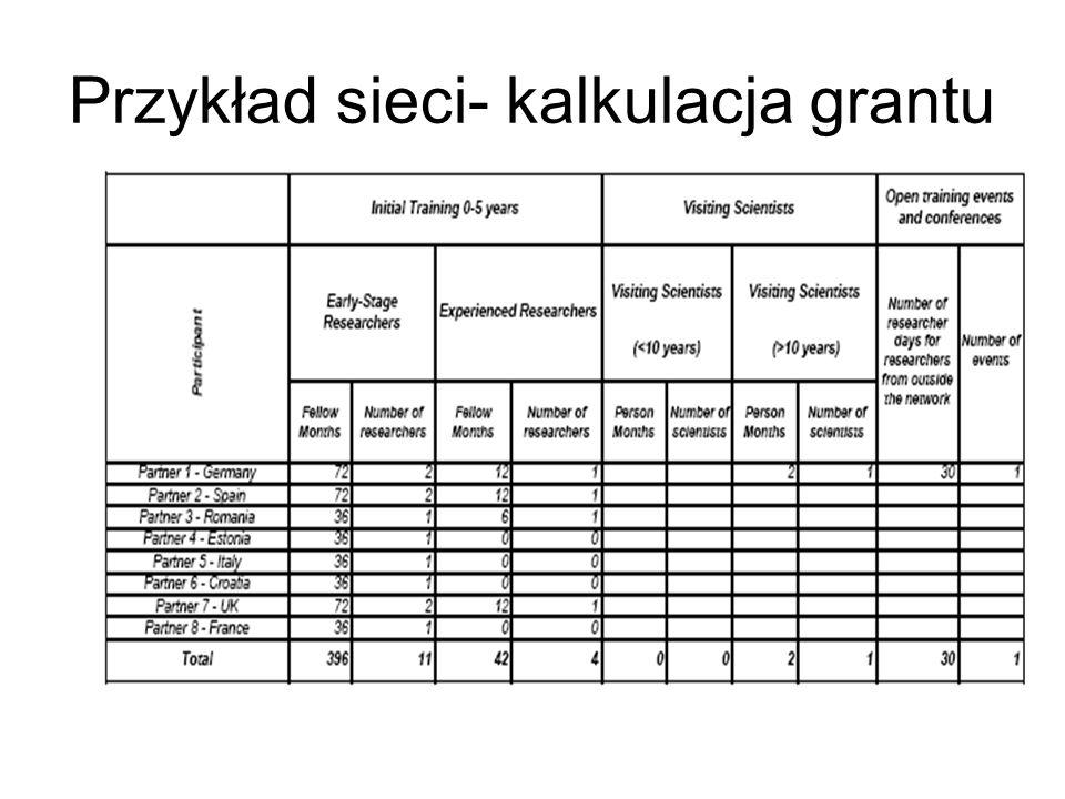 Przykład sieci- kalkulacja grantu