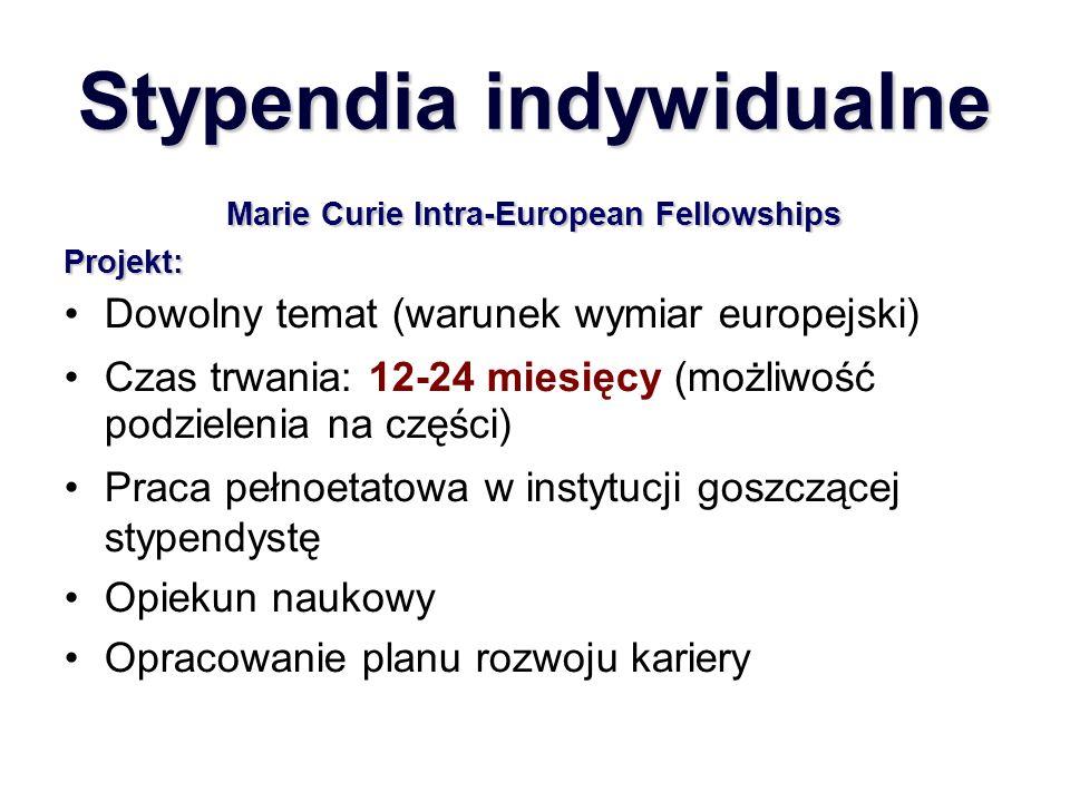 Stypendia indywidualne Marie Curie Intra-European Fellowships Projekt: Dowolny temat (warunek wymiar europejski) Czas trwania: 12-24 miesięcy (możliwość podzielenia na części) Praca pełnoetatowa w instytucji goszczącej stypendystę Opiekun naukowy Opracowanie planu rozwoju kariery