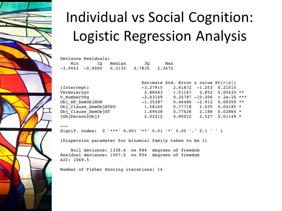 Individual vs Social Cognition: Logistic Regression Analysis