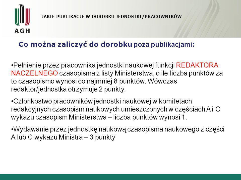 JAKIE PUBLIKACJE W DOROBKU JEDNOSTKI/PRACOWNIKÓW Co można zaliczyć do dorobku poza publikacjami : Pełnienie przez pracownika jednostki naukowej funkcj