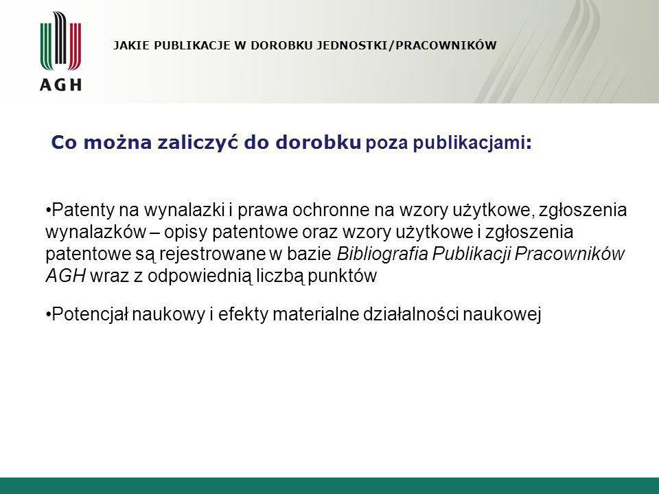 JAKIE PUBLIKACJE W DOROBKU JEDNOSTKI/PRACOWNIKÓW Co można zaliczyć do dorobku poza publikacjami : Patenty na wynalazki i prawa ochronne na wzory użytk
