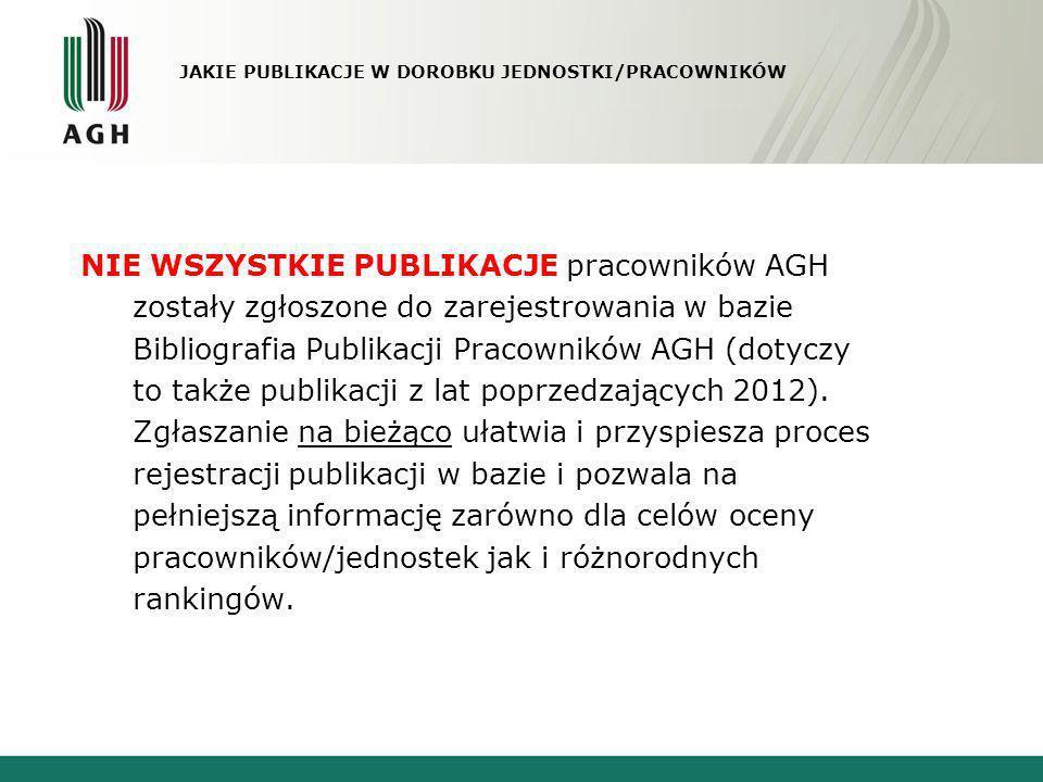 JAKIE PUBLIKACJE W DOROBKU JEDNOSTKI/PRACOWNIKÓW NIE WSZYSTKIE PUBLIKACJE pracowników AGH zostały zgłoszone do zarejestrowania w bazie Bibliografia Pu