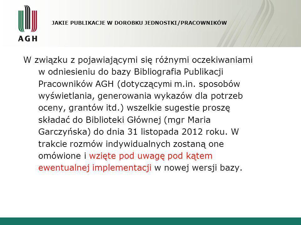 JAKIE PUBLIKACJE W DOROBKU JEDNOSTKI/PRACOWNIKÓW W związku z pojawiającymi się różnymi oczekiwaniami w odniesieniu do bazy Bibliografia Publikacji Pra