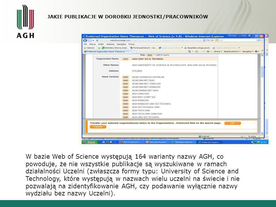 W bazie Web of Science występują 164 warianty nazwy AGH, co powoduje, że nie wszystkie publikacje są wyszukiwane w ramach działalności Uczelni (zwłasz