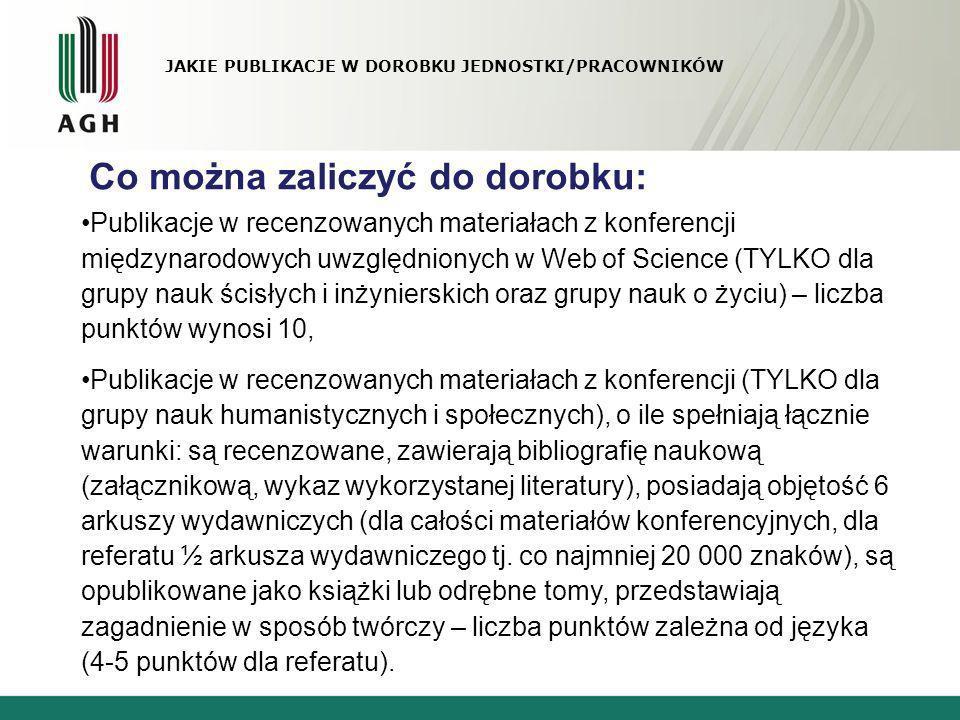 JAKIE PUBLIKACJE W DOROBKU JEDNOSTKI/PRACOWNIKÓW Co można zaliczyć do dorobku: Publikacje w recenzowanych materiałach z konferencji międzynarodowych u
