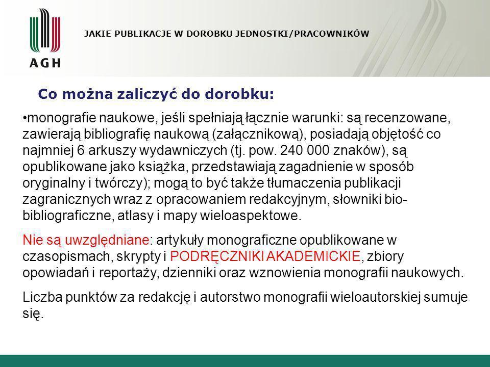 JAKIE PUBLIKACJE W DOROBKU JEDNOSTKI/PRACOWNIKÓW Co można zaliczyć do dorobku: monografie naukowe, jeśli spełniają łącznie warunki: są recenzowane, za