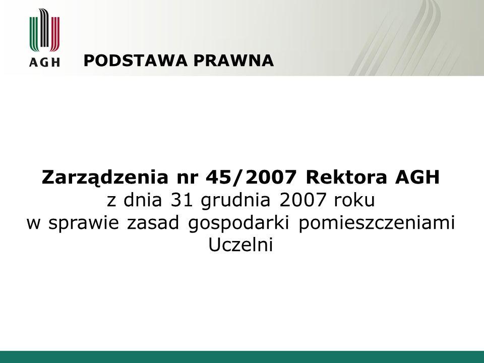 PODSTAWA PRAWNA Zarządzenia nr 45/2007 Rektora AGH z dnia 31 grudnia 2007 roku w sprawie zasad gospodarki pomieszczeniami Uczelni