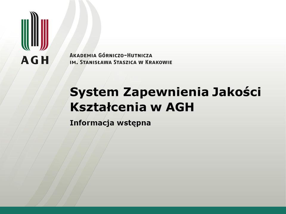 System Zapewnienia Jakości Kształcenia w AGH Informacja wstępna