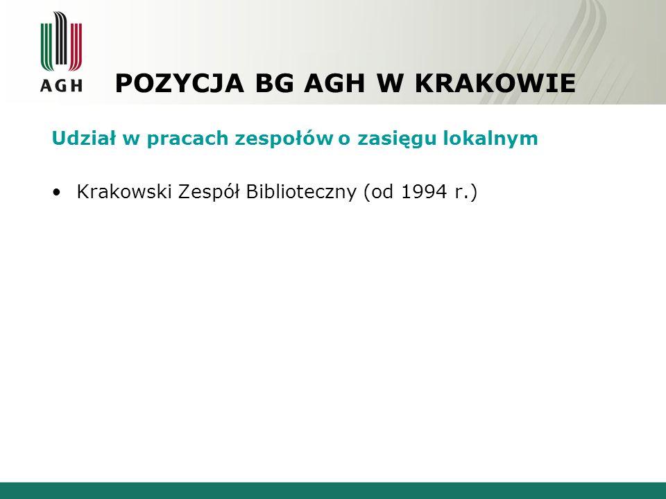 POZYCJA BG AGH W KRAKOWIE Udział w pracach zespołów o zasięgu lokalnym Krakowski Zespół Biblioteczny (od 1994 r.)