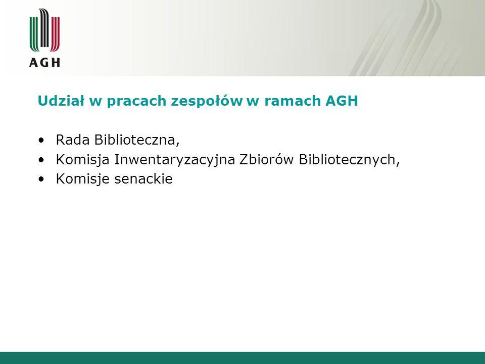 Udział w pracach zespołów w ramach AGH Rada Biblioteczna, Komisja Inwentaryzacyjna Zbiorów Bibliotecznych, Komisje senackie