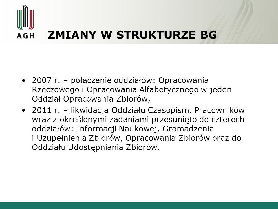 ZMIANY W STRUKTURZE BG 2007 r. – połączenie oddziałów: Opracowania Rzeczowego i Opracowania Alfabetycznego w jeden Oddział Opracowania Zbiorów, 2011 r
