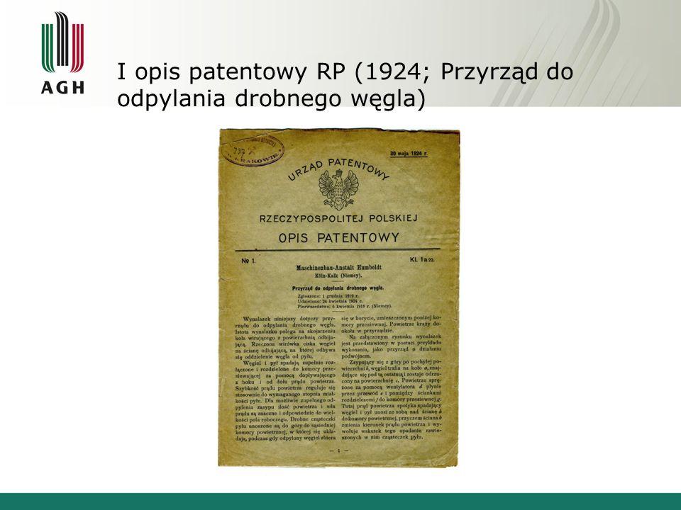 I opis patentowy RP (1924; Przyrząd do odpylania drobnego węgla)