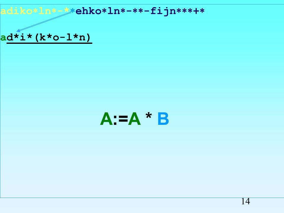 adiko ln - ehko ln - -fijn + adi*(k*o-l*n) A:=A * B 13