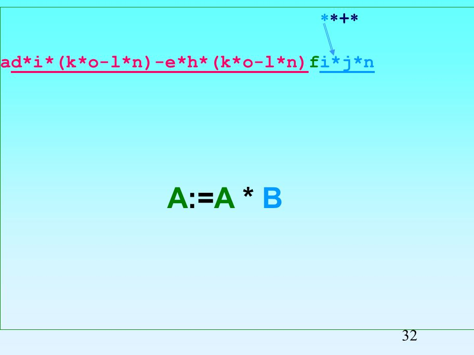+ ad*i*(k*o-l*n)-e*h*(k*o-l*n)fij*n Przepisywanie symboli 31