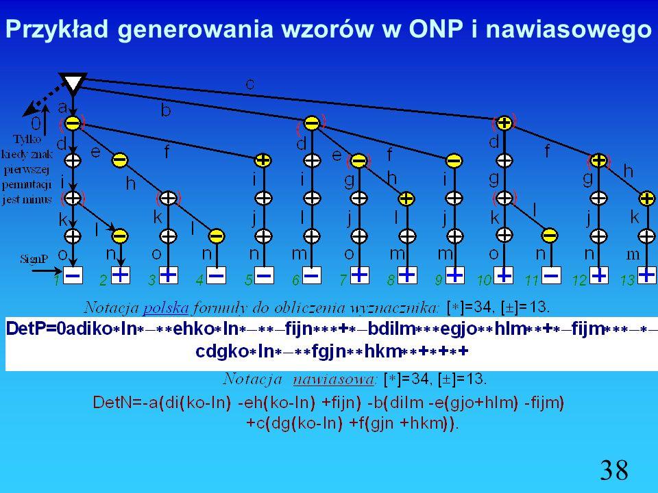 Przykład generowania wzoru wyznacznika w ONP 37 12345 1 abc 2 d ef 3 gh i 4 jkl 5 mno 12345678910111213 1 aaaaabbbbcccc 2 ddeefdeefddff 3 iihhiighiggg