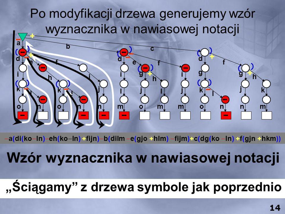c e f d f g h i g g h j l jk l j k ommonnm a b d ef d i h i i k l k l l o n onnm j 0 13 1. Usuwamy zerowy łuk 2. Usuwamy znaki mnożenia 3. Przenosimy