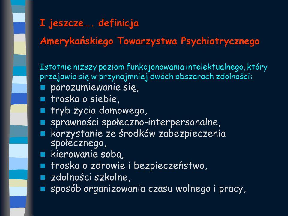 I jeszcze…. definicja Amerykańskiego Towarzystwa Psychiatrycznego Istotnie niższy poziom funkcjonowania intelektualnego, który przejawia się w przynaj