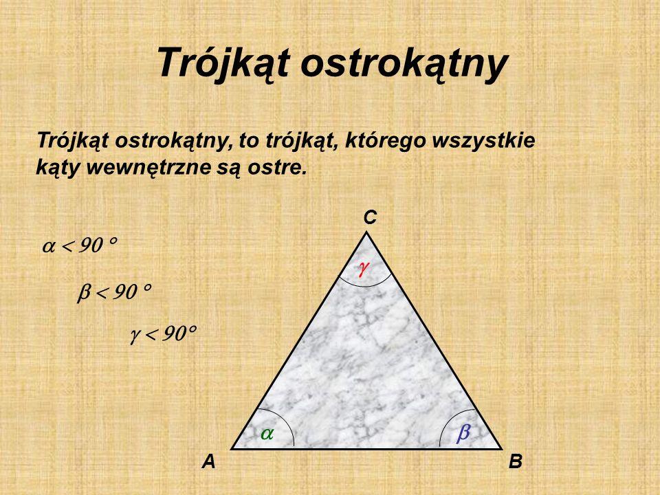 Podział ze względu na kąty Trójkąty ostrokątne Trójkąty prostokątne Trójkąty rozwartokątne