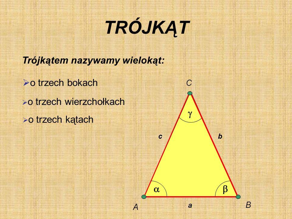 TRÓJKĄT Trójkątem nazywamy wielokąt: o trzech wierzchołkach o trzech kątach a bc A B C o trzech bokach