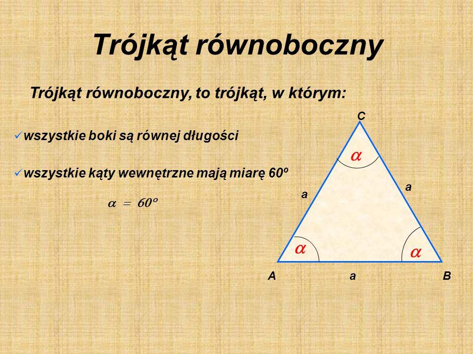 Trójkąty równoboczne Podział ze względu na boki Trójkąty równoramienne Trójkąty różnoboczne