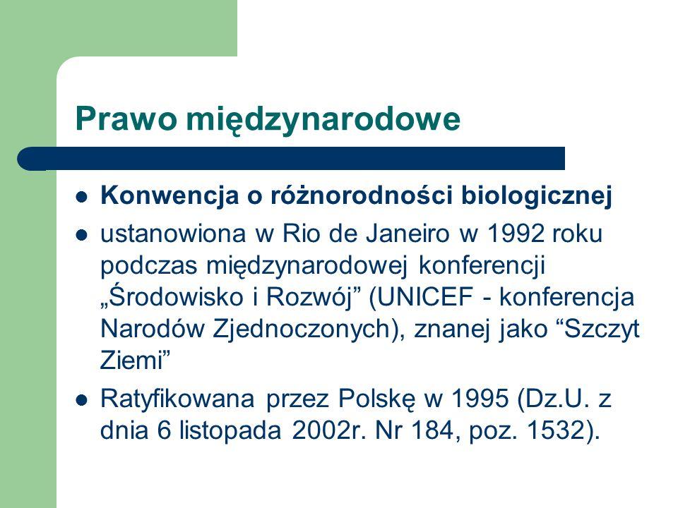 Prawo międzynarodowe Konwencja o różnorodności biologicznej ustanowiona w Rio de Janeiro w 1992 roku podczas międzynarodowej konferencji Środowisko i