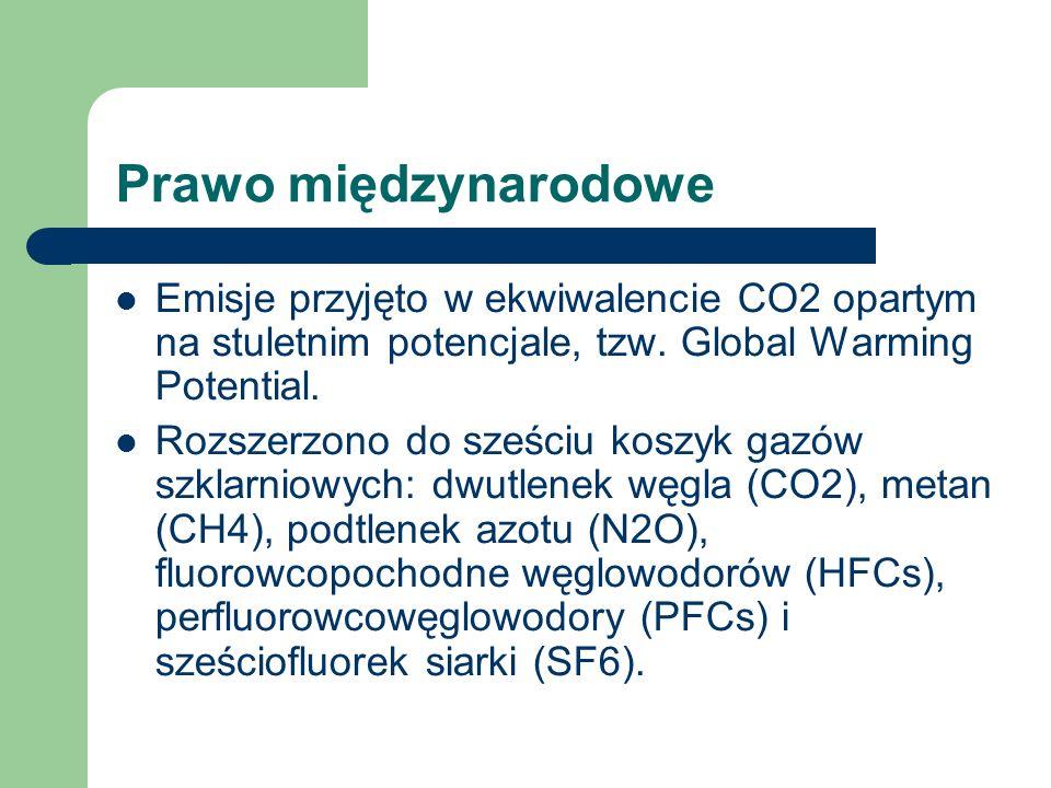 Prawo międzynarodowe Emisje przyjęto w ekwiwalencie CO2 opartym na stuletnim potencjale, tzw. Global Warming Potential. Rozszerzono do sześciu koszyk