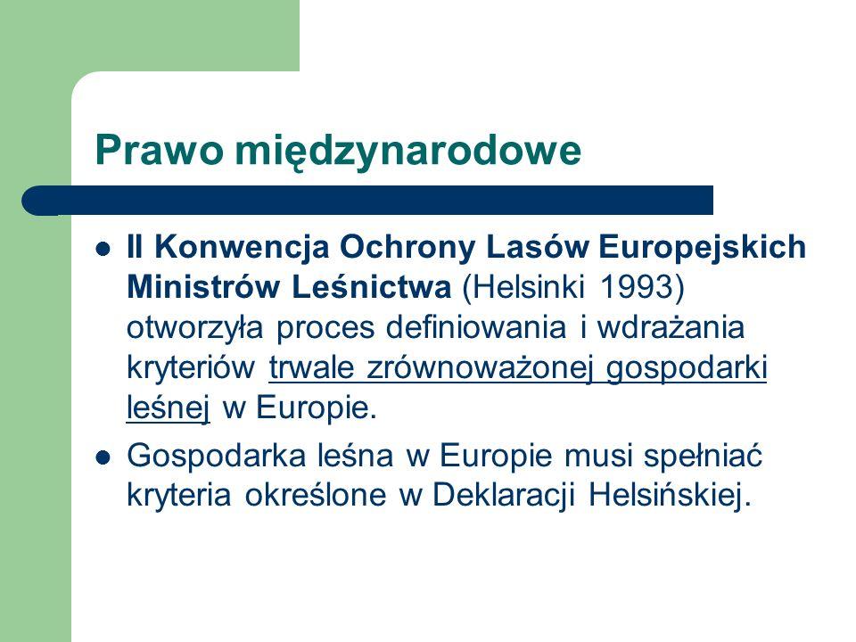 Prawo międzynarodowe II Konwencja Ochrony Lasów Europejskich Ministrów Leśnictwa (Helsinki 1993) otworzyła proces definiowania i wdrażania kryteriów t