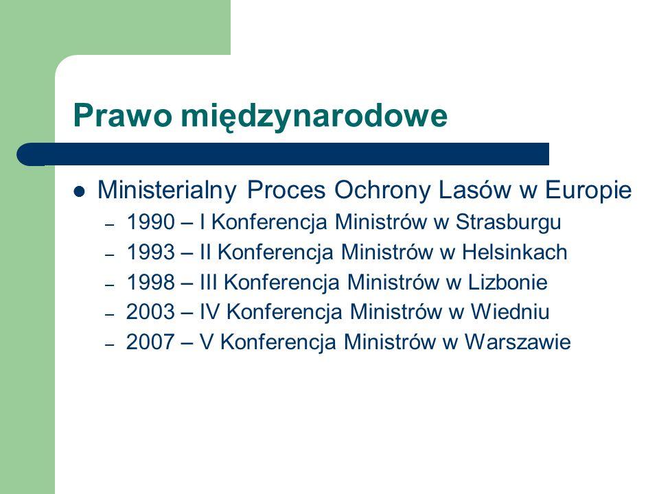Prawo międzynarodowe Ministerialny Proces Ochrony Lasów w Europie – 1990 – I Konferencja Ministrów w Strasburgu – 1993 – II Konferencja Ministrów w He