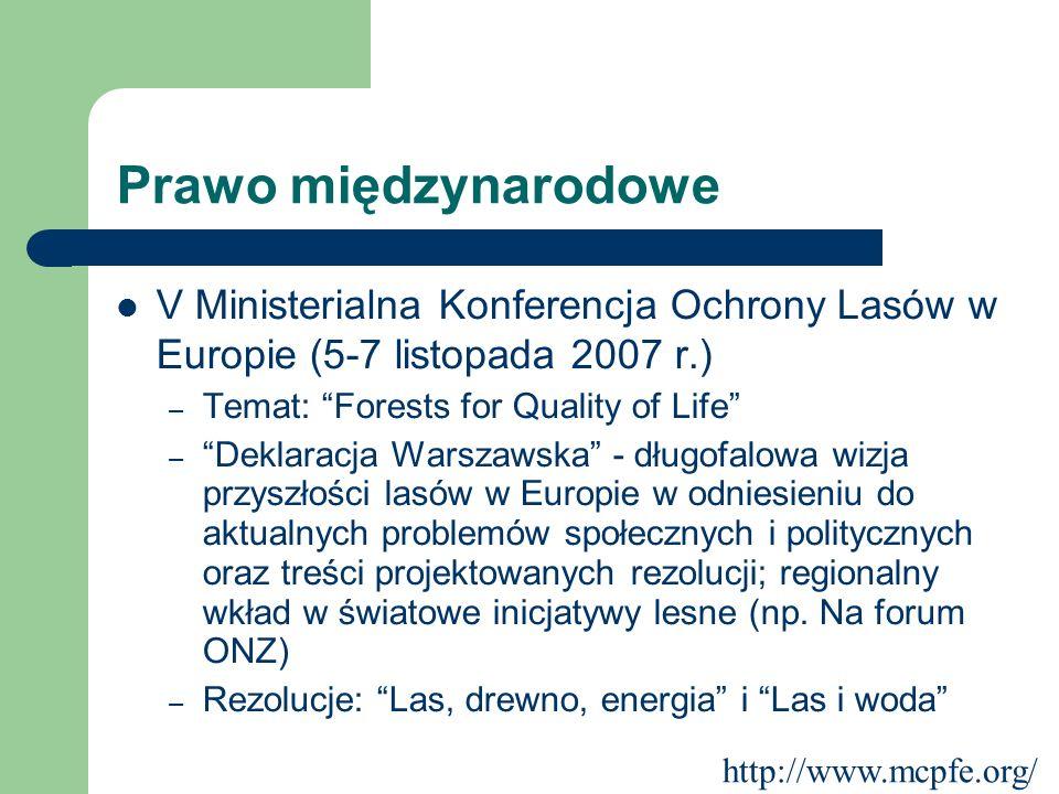 Prawo międzynarodowe V Ministerialna Konferencja Ochrony Lasów w Europie (5-7 listopada 2007 r.) – Temat: Forests for Quality of Life – Deklaracja War