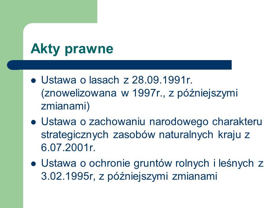 Akty prawne Ustawa o lasach z 28.09.1991r. (znowelizowana w 1997r., z późniejszymi zmianami) Ustawa o zachowaniu narodowego charakteru strategicznych