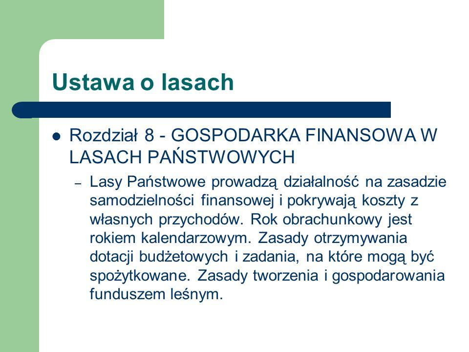 Ustawa o lasach Rozdział 8 - GOSPODARKA FINANSOWA W LASACH PAŃSTWOWYCH – Lasy Państwowe prowadzą działalność na zasadzie samodzielności finansowej i p