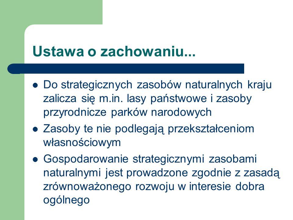 Ustawa o zachowaniu... Do strategicznych zasobów naturalnych kraju zalicza się m.in. lasy państwowe i zasoby przyrodnicze parków narodowych Zasoby te