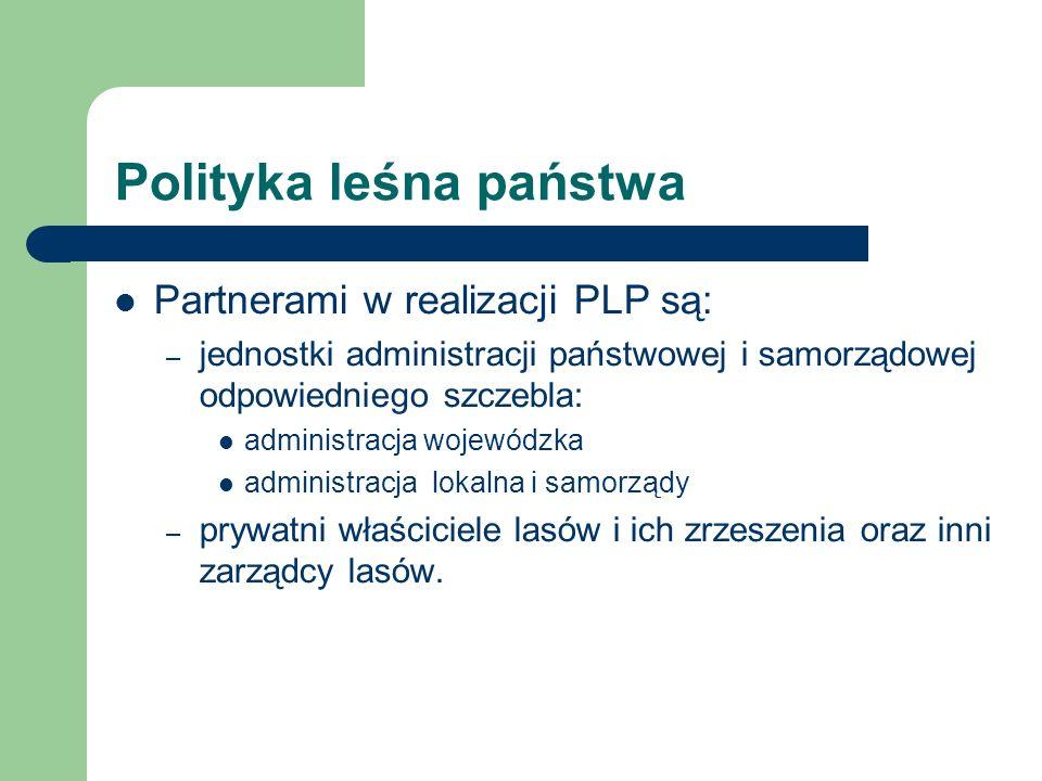 Polityka leśna państwa Partnerami w realizacji PLP są: – jednostki administracji państwowej i samorządowej odpowiedniego szczebla: administracja wojew