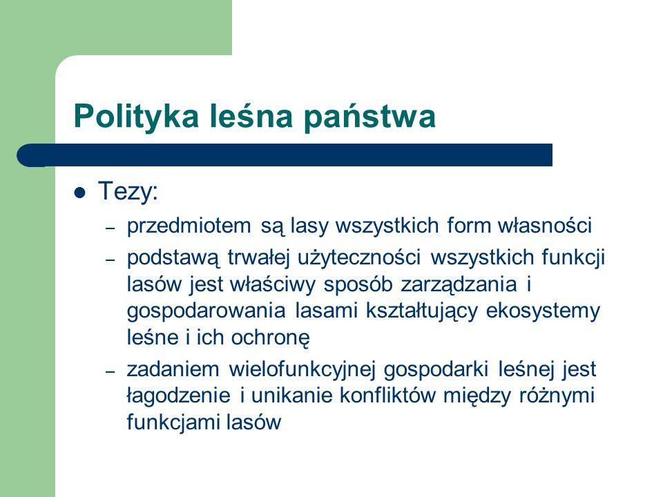 Polityka leśna państwa Tezy: – przedmiotem są lasy wszystkich form własności – podstawą trwałej użyteczności wszystkich funkcji lasów jest właściwy sp
