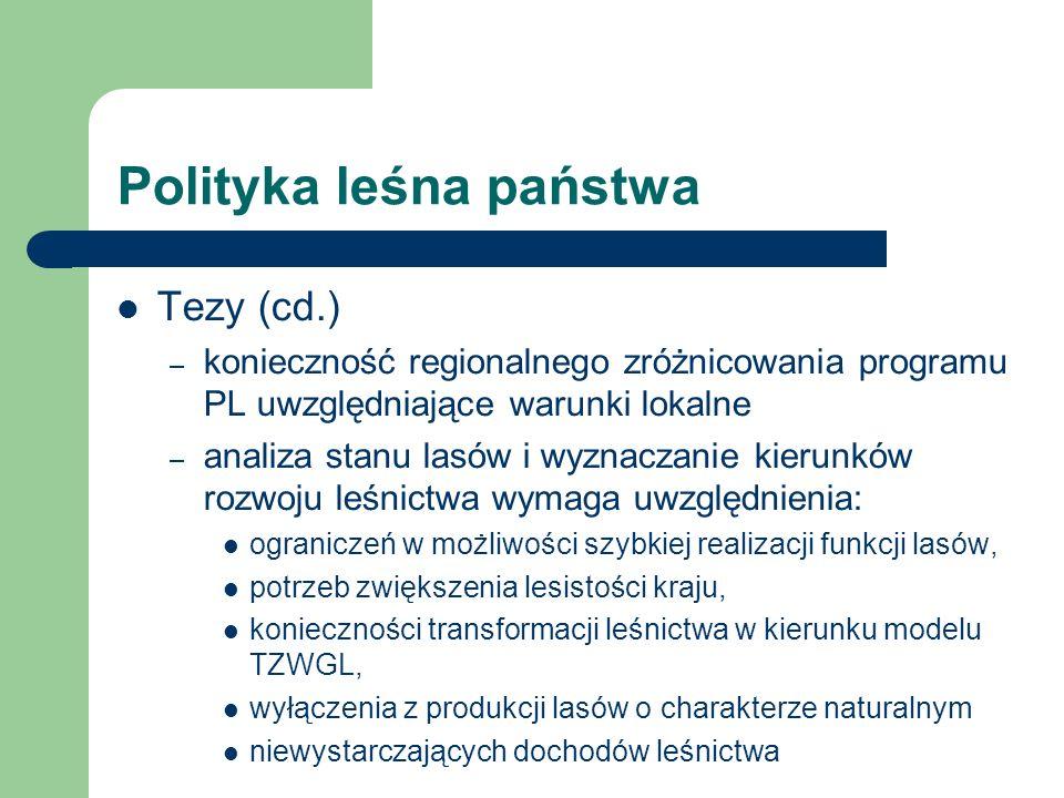 Polityka leśna państwa Tezy (cd.) – konieczność regionalnego zróżnicowania programu PL uwzględniające warunki lokalne – analiza stanu lasów i wyznacza