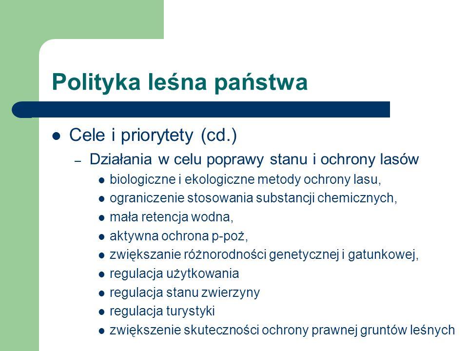 Polityka leśna państwa Cele i priorytety (cd.) – Działania w celu poprawy stanu i ochrony lasów biologiczne i ekologiczne metody ochrony lasu, ogranic