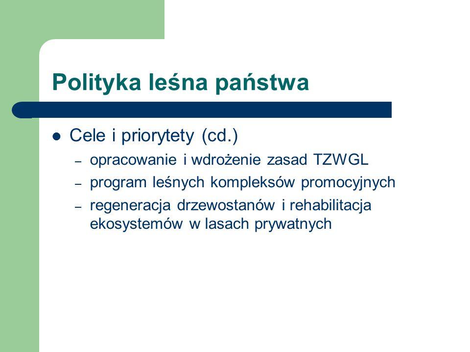 Polityka leśna państwa Cele i priorytety (cd.) – opracowanie i wdrożenie zasad TZWGL – program leśnych kompleksów promocyjnych – regeneracja drzewosta