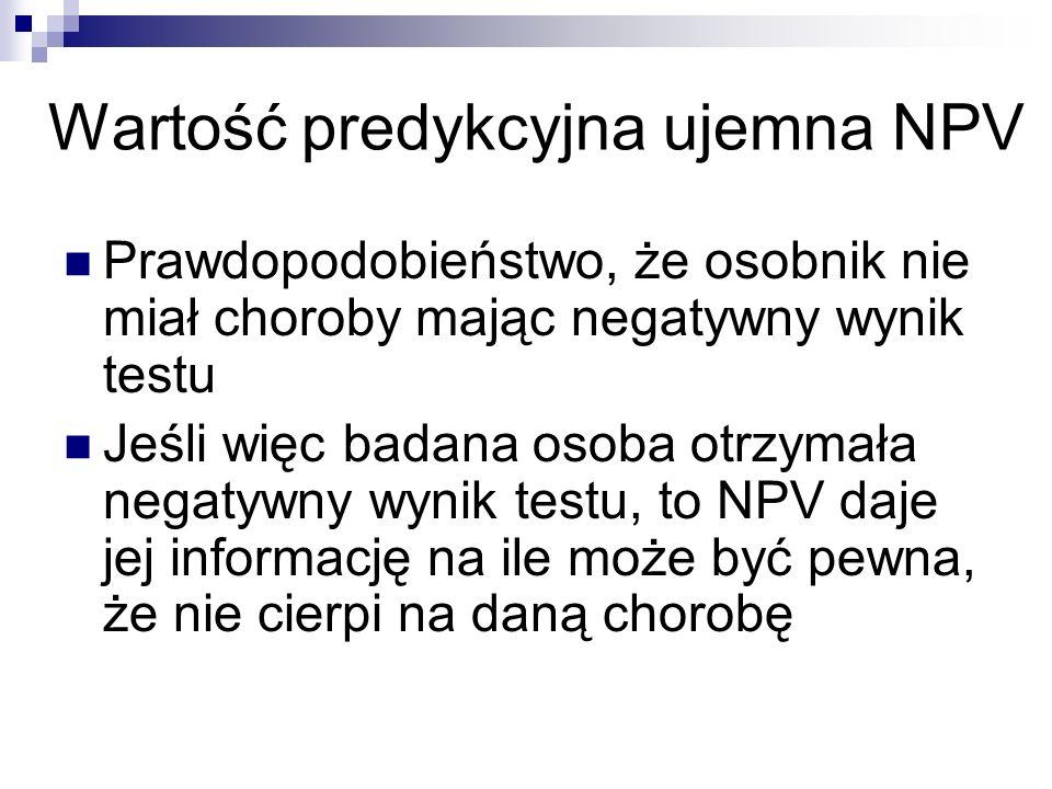 Prawdopodobieństwo, że osobnik nie miał choroby mając negatywny wynik testu Jeśli więc badana osoba otrzymała negatywny wynik testu, to NPV daje jej i