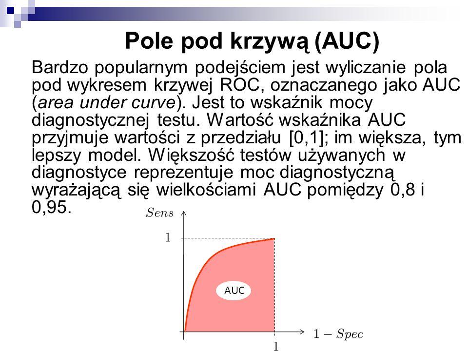 Pole pod krzywą (AUC) Bardzo popularnym podejściem jest wyliczanie pola pod wykresem krzywej ROC, oznaczanego jako AUC (area under curve). Jest to wsk