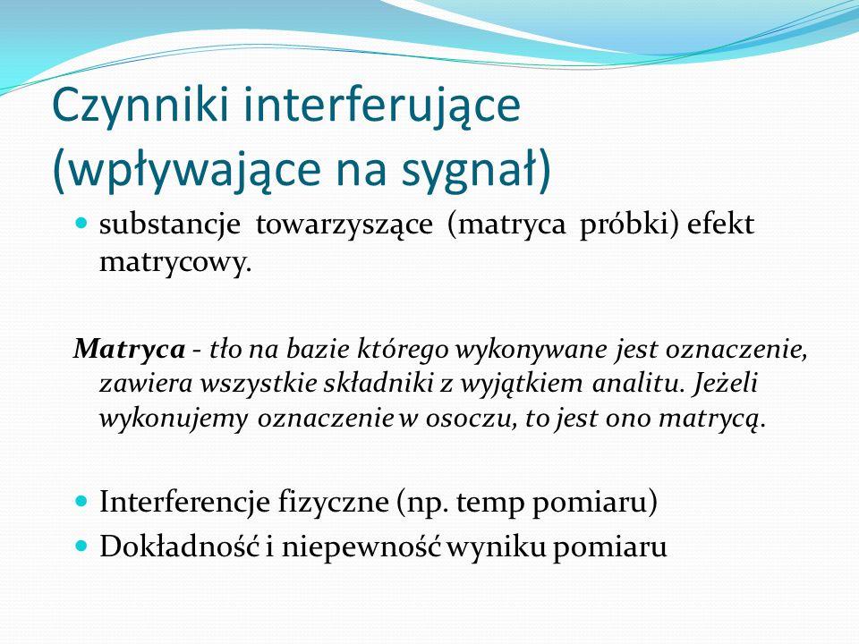 Czynniki interferujące (wpływające na sygnał) substancje towarzyszące (matryca próbki) efekt matrycowy. Matryca - tło na bazie którego wykonywane jest
