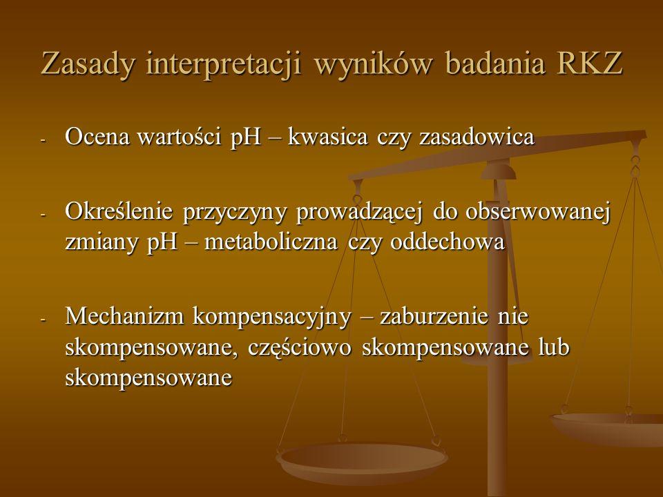 Zasady interpretacji wyników badania RKZ - Ocena wartości pH – kwasica czy zasadowica - Określenie przyczyny prowadzącej do obserwowanej zmiany pH – m
