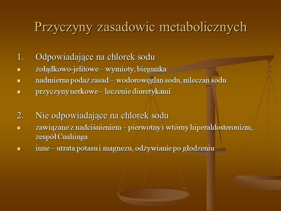 Przyczyny zasadowic metabolicznych 1.Odpowiadające na chlorek sodu żołądkowo-jelitowe – wymioty, biegunka żołądkowo-jelitowe – wymioty, biegunka nadmi