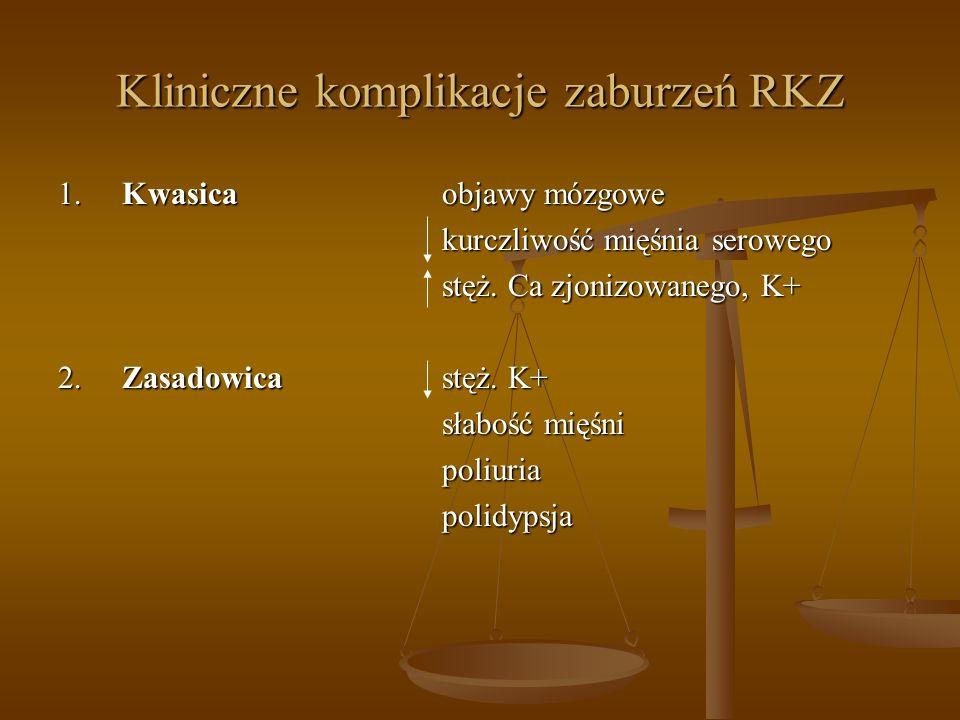 Kliniczne komplikacje zaburzeń RKZ 1.Kwasica objawy mózgowe kurczliwość mięśnia serowego stęż. Ca zjonizowanego, K+ 2.Zasadowica stęż. K+ słabość mięś